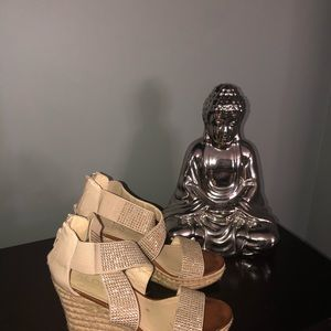 Aldo zipper back wedge sandals